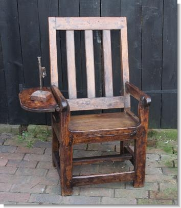 17th Century PRIMATIVE CHAIR with Table arm.