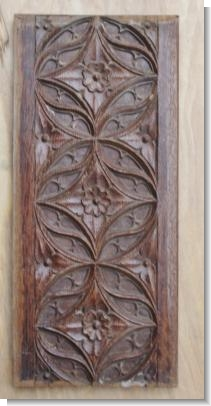 15th Century carved gothic tracery panel