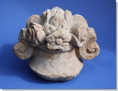 LATE 18th CENTURY YORKSTONE CARVING OF A BASKET of FLOWERS.