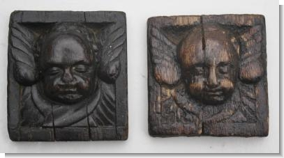 2 small 17th Century CARVED OAK ANGLE HEADS