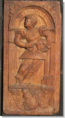 GOOD Mid 16th Century panel GENTLEMAN WITH SKULL
