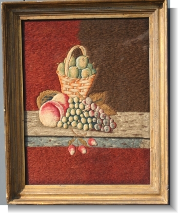 WOOLWORK PICTURE of FRUIT.