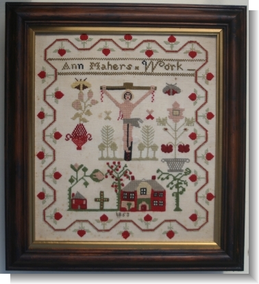 .ANN MAHERS 1853 Naive Crucifixtion sampler