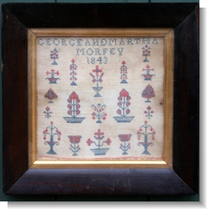 MARIAGE SAMPLER for GEORGE & MARTHA MORFEY 1843