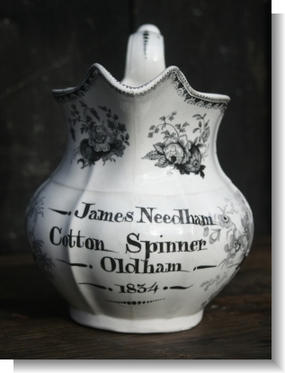 JAMES NEEDDHAM, COTTON SPINNER 1834 SWANSEA JUG.