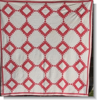 RED & WHITE QUILT with very fine QUILTING