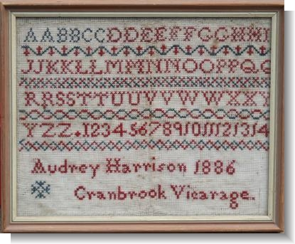 AUDREY HARRISON, CRANBROOK 1886 A lot of history with this sampler