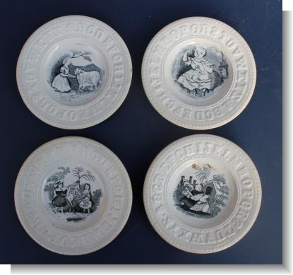 SET of FOUR ALPHABET PLATES