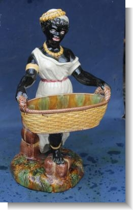 LARGE BLACKAMOORE MAJOLICA FIGURE