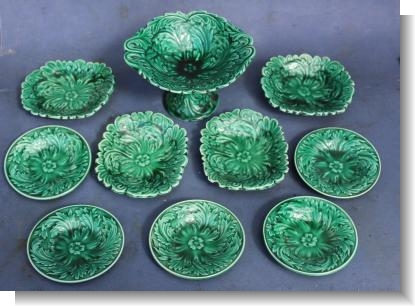 GREEN GLAZE MAJOLICA TOY SERVICE, EDGE, MALKIN & Co