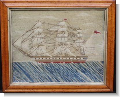 GOOD 19th CENTURY SHIP WOOLWORK PICTURE