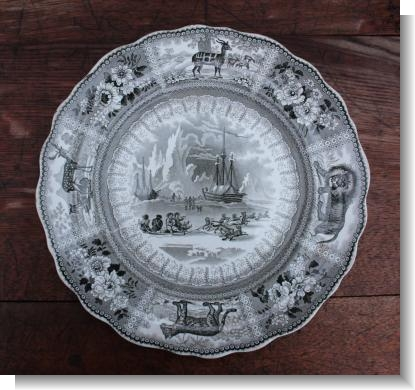 ARCTIC SCENERY PLATE, c.1830 in grey-green