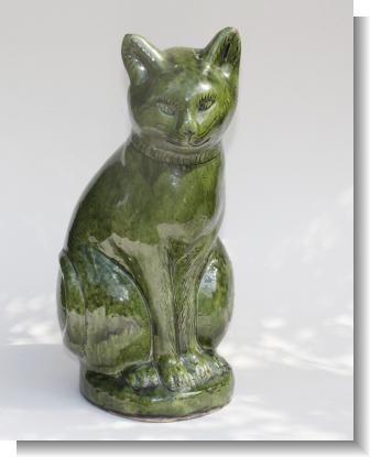 LARGE SWANSEA EWENNY POTTERY CAT, 1908