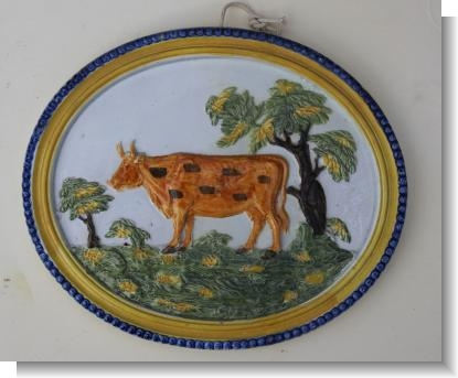 PRATTWARE COW PLAQUE signed & dated 1825
