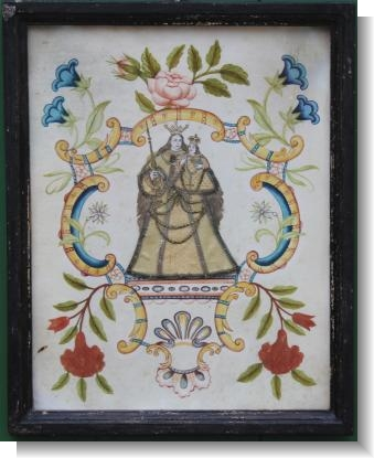 18th Century Religous picture , cut paper, silk with water colour
