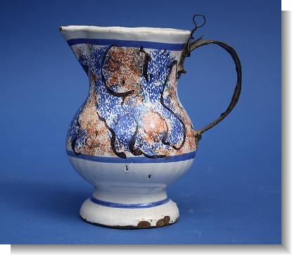 FRENCH FAIENCE JUG with Make Do Handle