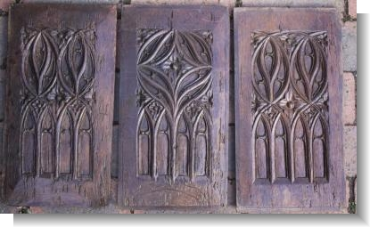 3 x LATE 15th CENTURY BLIND GOTHIC TRACERY PANELS.