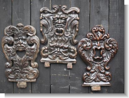 3 17th CENTURY SWISS STABELLE CHAIR BACKS with Grotesque heads.