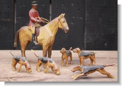 HORSE & RIDER with DOGS, FOREST TOYs by Frank Whittington