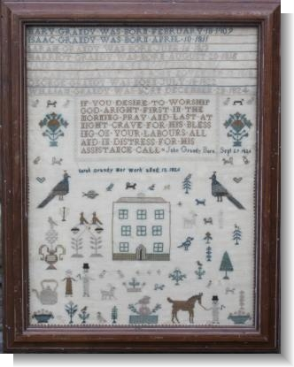 SARAH GRANDY FAMILY REGISTER SAMPLER dated 1826.