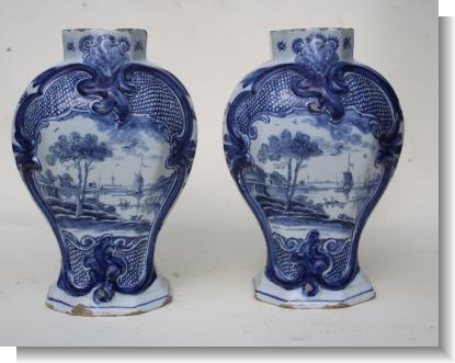 PAIR of LATE 18TH CENTURY DELFT VASES.