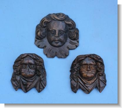 3 x SMALL 17th CENTURY HEADS