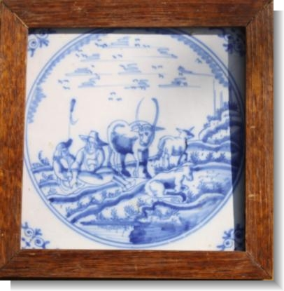 FRAMED 18th CENTURY DELFT TILE