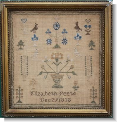 ELIZABETH PEETE Dec.1838 IRISH SAMPLER