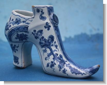 RARE ENGLISH DELFT SHOE, London, 1740