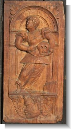 GOOD Mid 16th Century panel GENTLEMAN WITH SKULL>