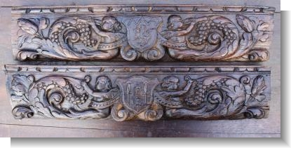 UNUSUAL PAIR OF ARMORIAL DRAW FRONTS circa 1600