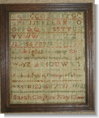.SARAH CLAYTON 1839, Sampler with Letter  Audlem Cheshire